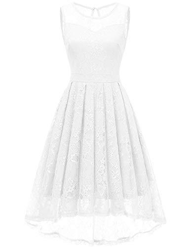 Gardenwed Damen Kleid Retro Ärmellos Kurz Brautjungfern Kleid Spitzenkleid Abendkleider CocktailKleid Partykleid White M