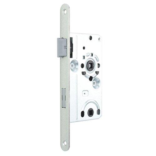 Premium M4TEC ZB5 WC/Badtür-Einsteckschloss Innenraumtür Klasse 1 Stulpplatte Farbe Silber Metallic - Robust, haltbar & leichte Montage - Elegantes Design - DIN L Eintourig -Ideal für Toiletten-Türen