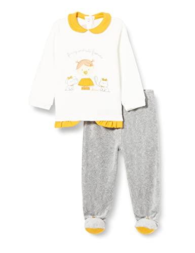 Chicco Completino Maglietta E Pantaloni In Ciniglia Juego de Pijama, Gris y Blanco, 62 cm para Bebés