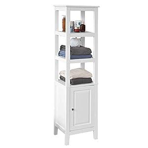 SoBuy® Mueble Columna de baño, Armario para baño - 3 estantes y 1 Puerta, FRG205-W, ES(Blanco)