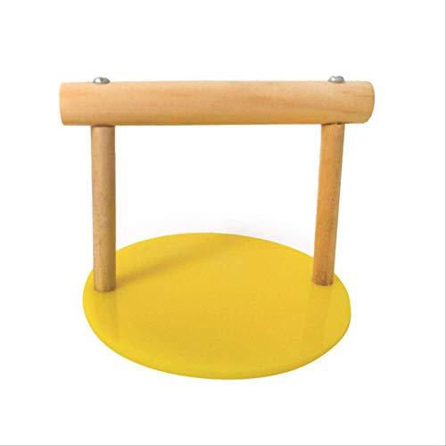 XYBB speelgoed voor papegaai, tafel van hout, met basis van acryl, voor vogels en papegaaien, oefeningen, Grinding Bird bureau-perk, 9.5 '9.5 '8cm, Geel.