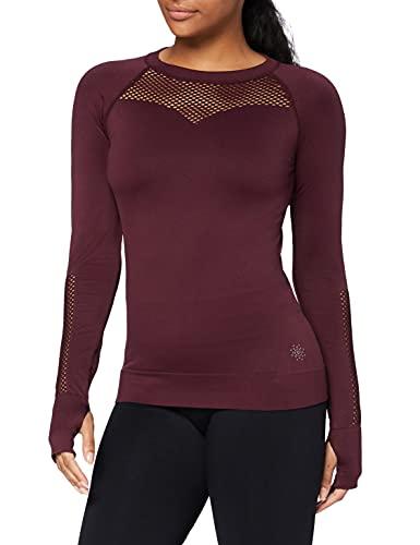 Amazon-Marke: AURIQUE Damen Nahtloses Sporttop aus Mesh mit langen Ärmeln, Rot (Port), 36, Label:S