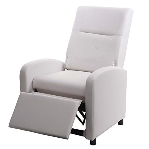 Mendler Fernsehsessel HWC-H18, Relaxsessel Liege Sessel, Kunstleder klappbar 99x70x75cm ~ weiß
