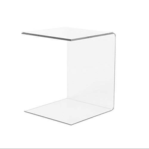 LuceSolida - 'Tower' Tavolino Comodino in Plexiglass Vetro Acrilico Lato Divano Trasparente 40x40x60