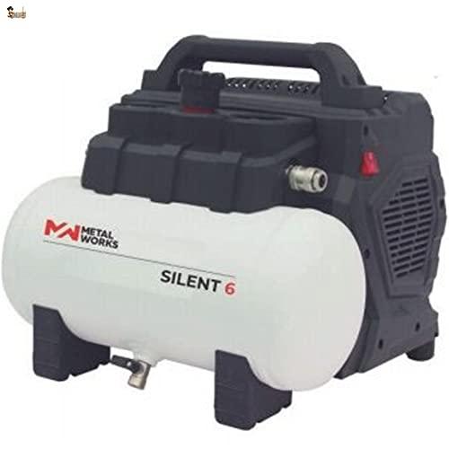 BricoLoco Compresor aire silencioso portátil, pequeño y ligero. 8 bares de presión. 1,5 CV de potencia. Depósito 6 lts....