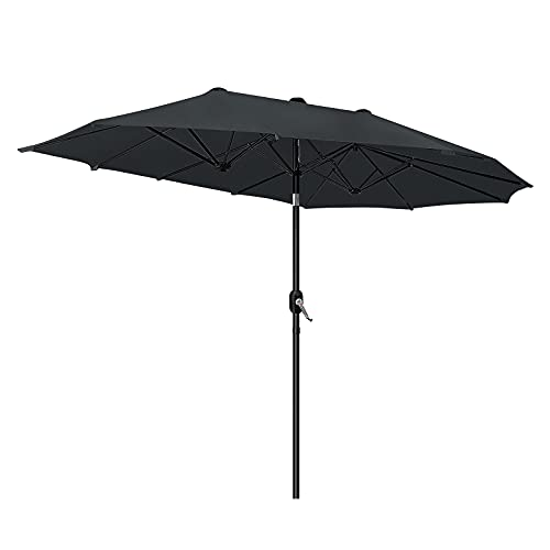 HENGMEI Sonnenschirm 300x155cm Gartenschirm Doppelsonnenschirm Oval-Schirm Marktschirm mit Handkurbel Sonnenschutz UV50+ (Dunkelgrau, winkelverstellbar)