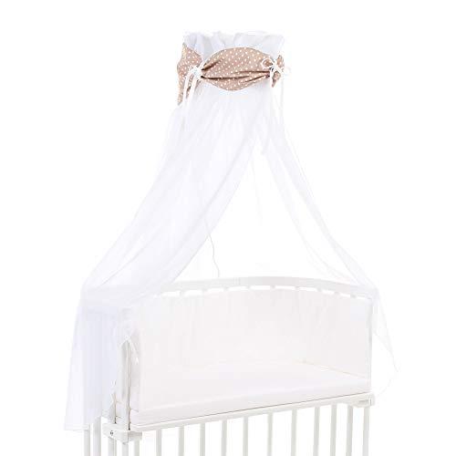 Ciel de lit babybay en coton bio avec nœud adapté aux modèles Original, Maxi, Boxspring, Comfort, Comfort Plus et Midi, brun clair avec étoiles blanches