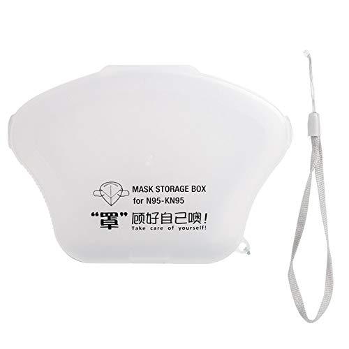 Ousyaah Caja de Almacenamiento Portátil para Mascarillas Desechables para Niños Caja de Limpieza a Prueba de Polvo y Humedad Clip de Almacenamiento (Transparente)