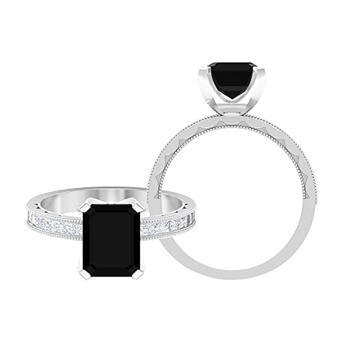 Anillo de compromiso clásico, anillo de acento moissanita, anillo solitario Milgrain oro blanco, Metal, Diamante negro creado en laboratorio,