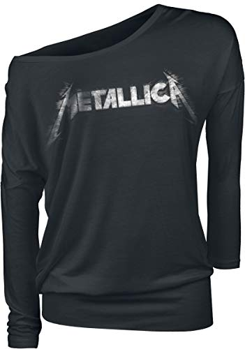Metallica Spiked Logo Mujer Camiseta Manga Larga Negro L, 95% Viscosa, 5% elastán, Regular