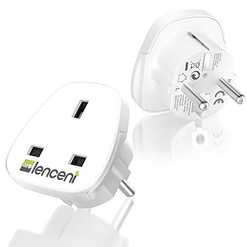 LENCENT 2X Adaptateur Prise UK/Anglaise/Royaume Uni/Angleterre 3 Broches vers Les Prises France/Francaise/Europe 2 Broches Adaptateur de Voyage (Blanc)