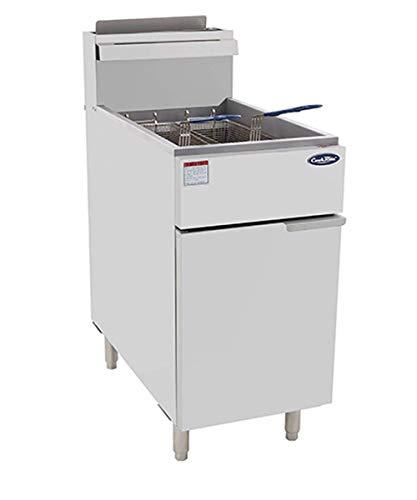 CookRite ATFS-50 Commercial Deep Fryer with Baskets 4 Tube Stainless Steel Liquid Propane Floor Fryers-120000 BTU