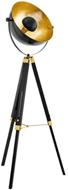 EGLO COVALEDA Stehleuchte, Holz, 60 W, schwarz, messing, Gold