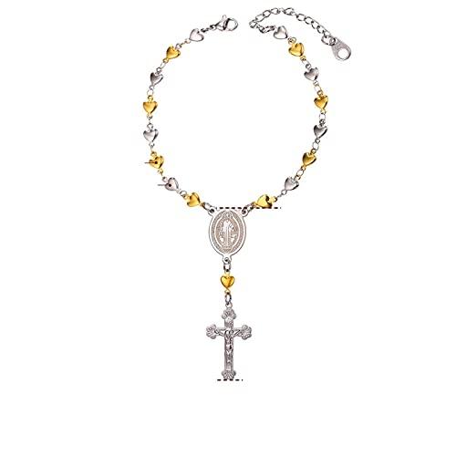 YITIANTIAN Pulsera de Rosario para Mujer, Pulseras de Cadena de Acero Inoxidable con Enlace de corazón, brazaletes, Medalla de San Benito, joyería