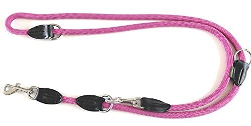 Leisegrün Guinzaglio regolabile in 3 posizioni, in Nyon, rotondo e resistente ai morsi, con 2 moschettoni, 1,2 cm x 2 m, colore: rosa e rosso