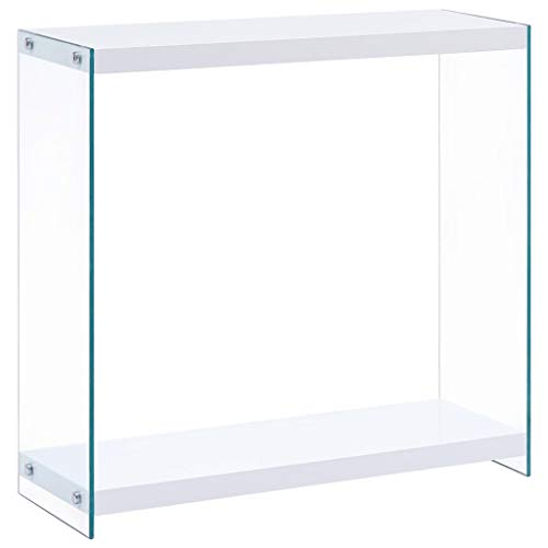 Festnight Mesa Consola Blanco y Transparente de MDF Brillante Mesa Consola Cristal 80X29X75,5 Cm