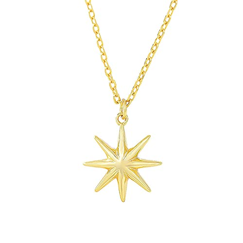 Collar Plata Mujer 925,S925 Plata Estrella de Ocho Puntas Colgante,Collar de Moda Ajustable de 40+5 cm Para Mujeres y Niñas, Gran Regalo de Oro para Mujer