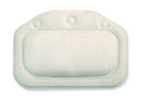 Deluxe Comfort Bath Cushion - Mildew Resistance Foam & PVC - White Vinyl Cover - Best for Head, Neck & Shoulders - Bath Pillow, White