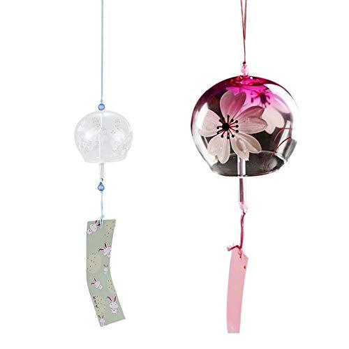 WOVELOT 2 piezas japonesas hechas a mano de cristal y campanillas de viento decoración para puerta de regalo para niñas estilo 5 y estilo 6