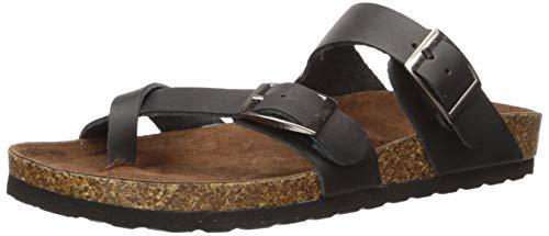 White Mountain Shoes Gracie Women's Flat Sandal, Black/Leather, 9 M