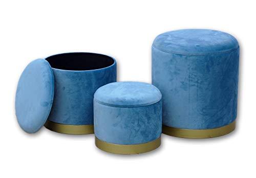 DISRAELI Set 3 Pouf Contenitore Tondo in Legno e Velluto Blu D40xH45 cm