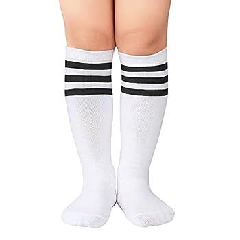 Zando Kids Child Cotton Three Stripes Sport Soccer Team Socks Uniform Tube Cute Knee High Stocking for Boys Girls 1 Pairs White Black One Size
