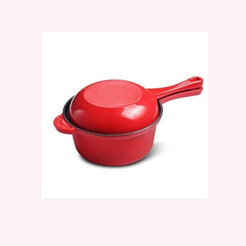 Eisen Bratpfanne-Kann Als einen Ofen und Bratpfanne, Milch Pfanne mit Doppel Handles for Outdoor-Grill oder Indoor-Herd/Ofen, Rot JIAMING