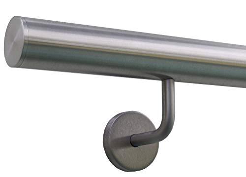 Edelstahlhandlauf Länge 0,3m - 6m aus einem Stück & unterschiedlichen Endstücken zum Auswählen Ø 42,4 mm mit gewinkelte Halter, Beispiel:Länge 30 cm mit 2 Halter, Enden mit gerade Kappe