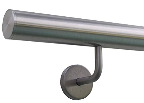 Edelstahlhandlauf Länge 0,3m - 6m aus einem Stück & unterschiedlichen Endstücken zum Auswählen Ø 42,4 mm mit gewinkelte Halter, Beispiel:Länge 250 cm mit 3 Halter, Enden mit gerade Kappe