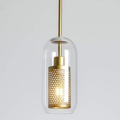 FERWVEW Industrial Gold Glass Ceiling Pendant Light, 1 Light...
