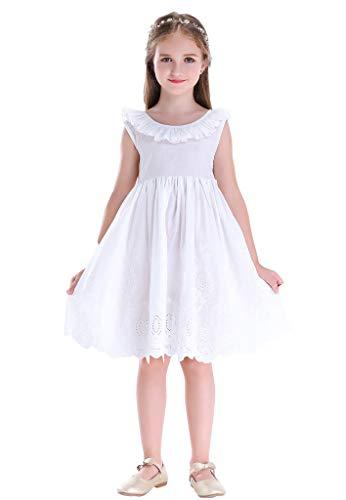 Happy Rose Little Girls Dress Beach Dress Sleeveless Flower 8 White