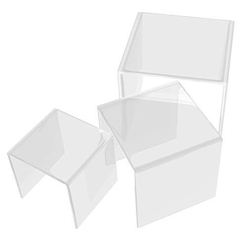 Danieli   Set di Alzatine in Plexiglass   Cubi Espositori in Acrilico Trasparente, Alzatine per Catering e Buffet, Perfetti Anche Come Espositori per Oggettistica e Vetrine (Set 3 Cubi: h20, h25, h30)