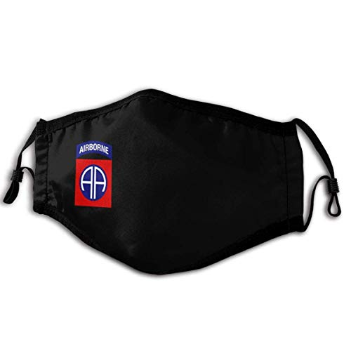 Sports Face Mask Us Army Veteran 82nd Airborne Unisex Windproof and Dustproof Cloth Mouth Mask Face Cover with Fliters