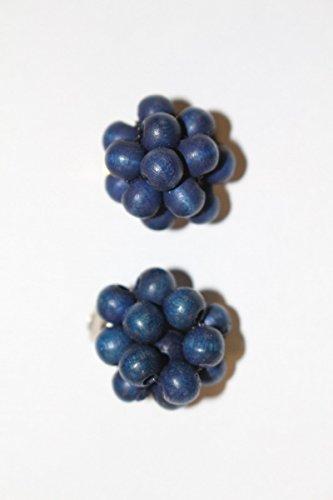 Unbekannt Original Vintage 1980er Pendientes Clips Clips Cuentas de Madera Azul Color...