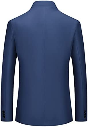 ZLDGYG Vintage Blazer Men Plus Size Chinese Style Business Casual Stand Collar Male Blazer (Color : D, Size : M)