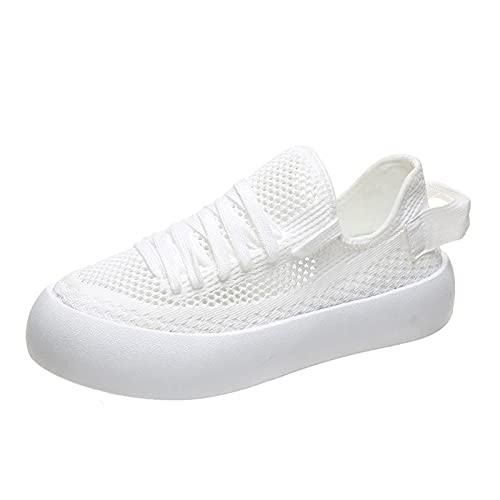 Zapatillas Deportivas para Mujer Transpirables Ligeras de Malla Cuñas Zapatos de Moda Lona Clásico Plataforma Talón de Cuña Baja Lona Sneakers Cordón Zapatos Primavera/Verano