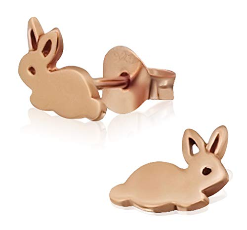 Laimons Orecchini per bambina, a forma di coniglio, in argento Sterling 925 placcato oro lucido