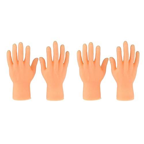 Qinshi 2 Pair of Finger Hands Mini Pair of Finger Hands Gummi Puppen Tiny Hand Fingerpuppen Kleiner Hände Fingerpuppen Linke und Rechte Hand (4 Stück)