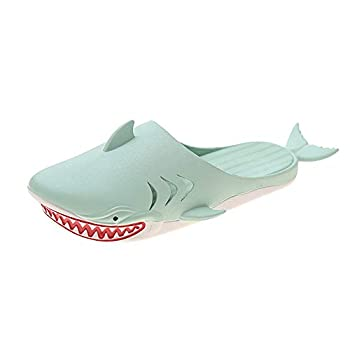 Unisex Shark Slippers Beach Party Funny Shark slippers Men and Women  Green numeric_5_point_5
