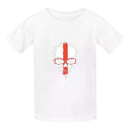 Camiseta de algodón con diseño de calavera de la bandera inglesa para niños y niñas