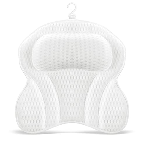 Bath Pillow for Tub, Comfort Bathtub Pillow Tub Pillow for Head Neck Back Support Rest, Ergonomic Pillow for Bath Soft Headrest with 6 Non-slip Strong Suction Cups, Fit for Hot Tub Jacuzzi Bubble Bath