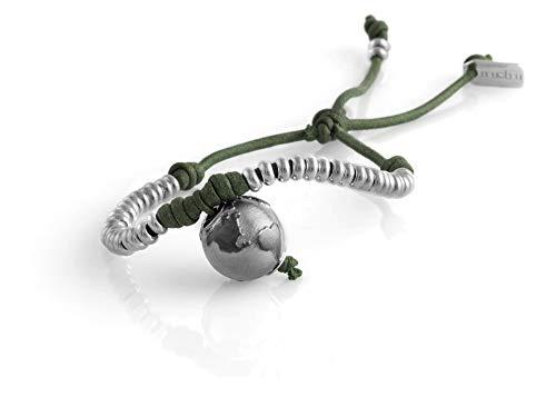 Nubu Pulsera de plata 925 con diamante y cordón colgante   Mujer y Hombre   Pulsera de viaje artesanal   Hecho a mano en Italia Verde