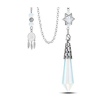 PESOENTH Opalite Crystal Dowsing Pendulum Healing Star Hexagonal Crystal Pendulum Dream Catcher Charms Chain for Divination Scrying Dowser