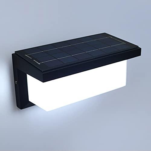 VOMI Luz Solar Exterior LED Aplique con Sensor de Movimiento Impermeable IP65 Exteriores Jardin Aluminio Lámpara de Pared con Mando a Distancia 4 lluminación Modos para Porche Villa Pasillo,6000k