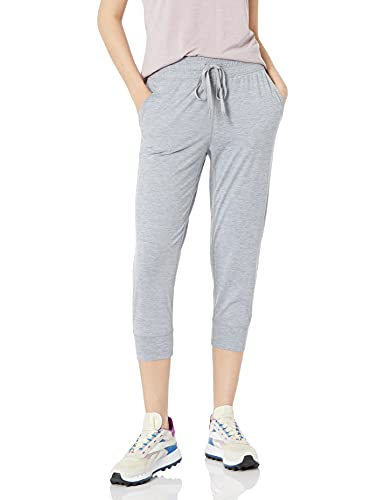 Amazon Essentials Brushed Tech Stretch Crop Jogger Pants, Grey Spacedye, M