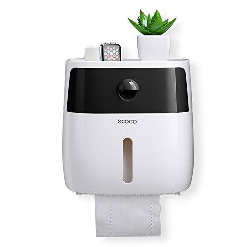 Meiyijia Toilettenpapierhalter Ohne Bohren, mit Schublade und Sichtbares Fenster Badezimmer Multifunktions Aufbewahrungsbox (Schwarz)