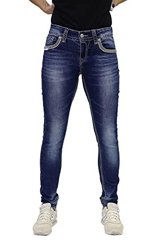 Blue Monkey Damen Luna 3834 Blue Denim Skinny Jeans (W29/L34)