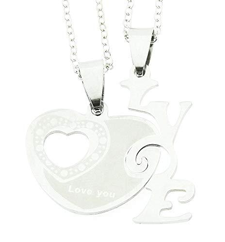 Twee kettingen voor vrouwen - vrouw - klein hartje - ik hou van je - stel voor hem en haar voor 2 - kerstmis - valentijnskaart - zilver - jij - origineel cadeau idee love you