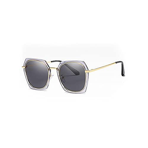 Heigmznvtyj Gafas de Sol Mujer Polarizadas, Gafas de Sol TAC Damas polarizadas Protector DE PROTECCIÓN DE Sol Gafas de Sol de Gafas de Metal Gafas de Sol (Color : Gray)