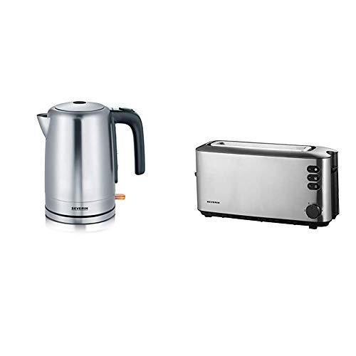 SEVERIN Wasserkocher, 1,7 L, ca. 2.200 W, WK 3497, Edelstahl/Schwarz & AT 2515 Automatik-Toaster (1.000 W, 1 Langschlitzkammer, Für bis zu 2 Brotscheiben) edelstahl/schwarz